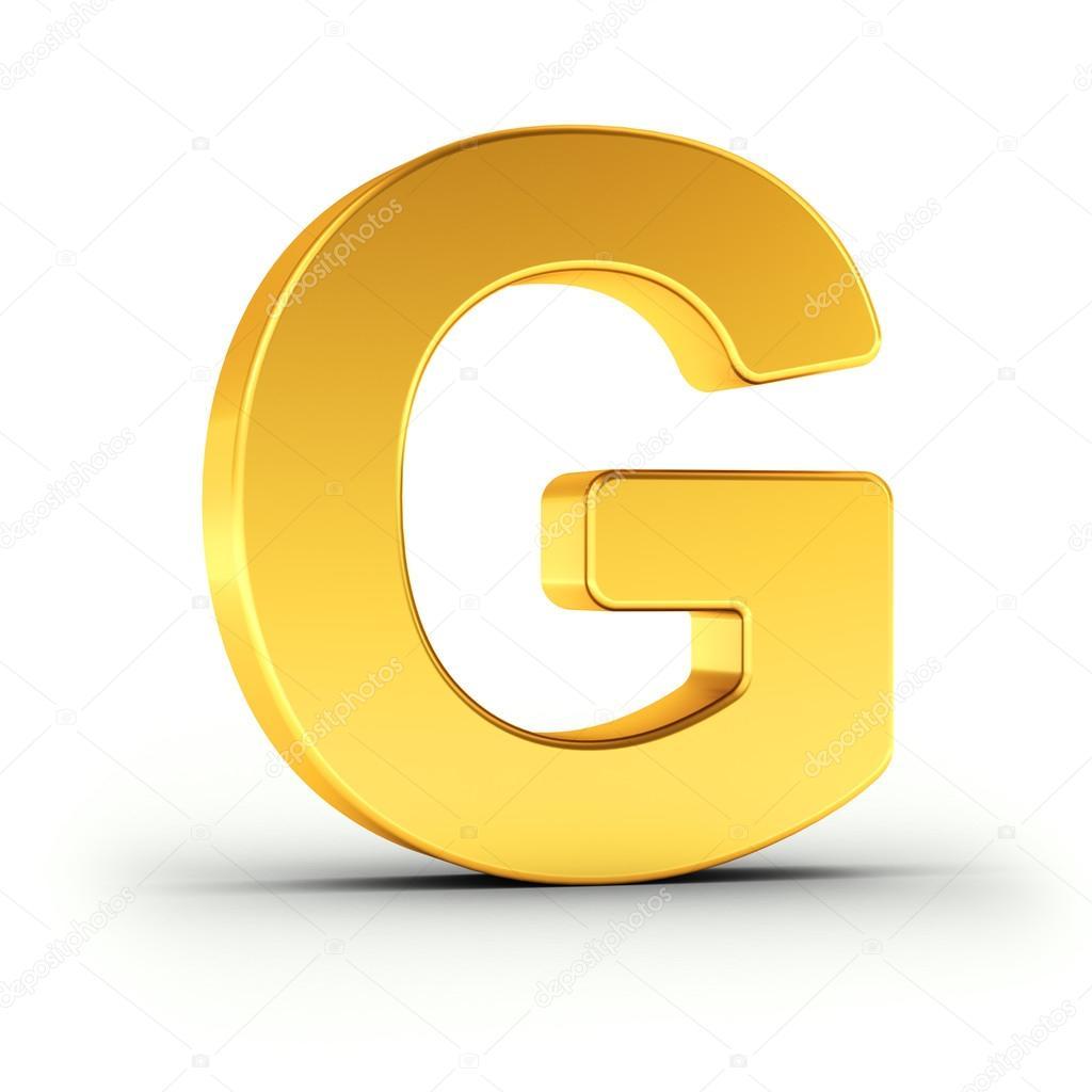 Der Buchstabe G Als Polierten Goldenen Objekt Mit Beschneidungspfad