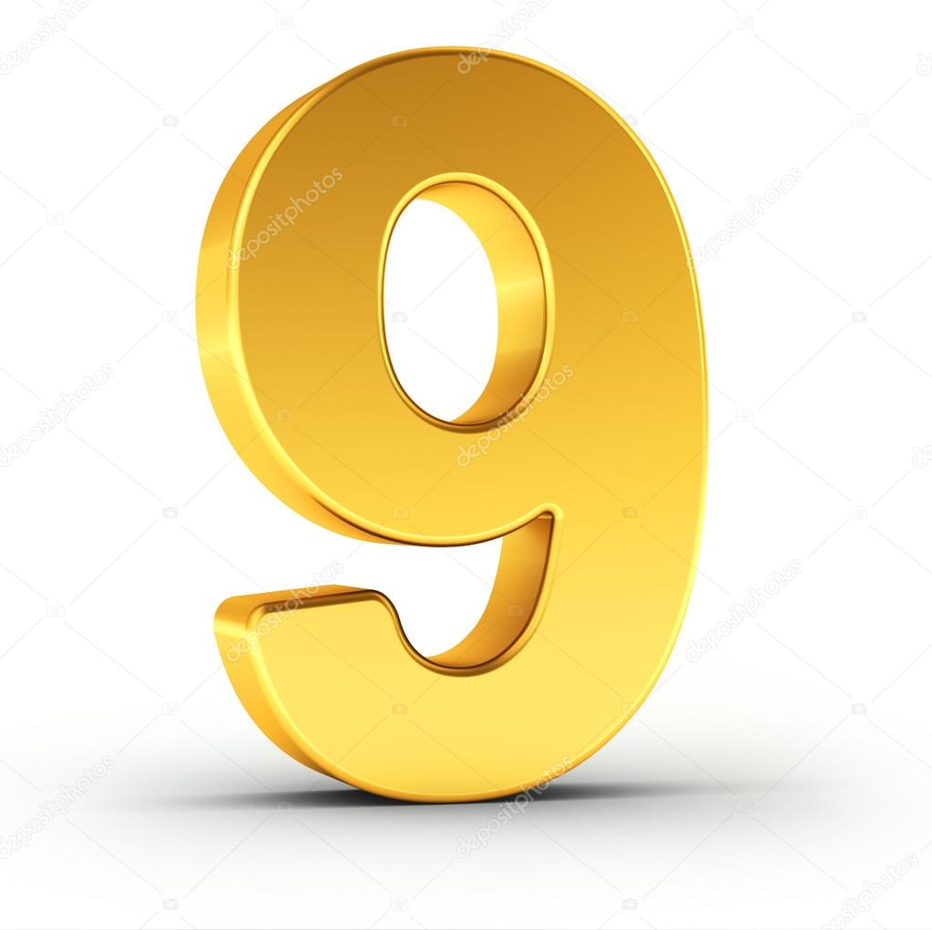The Number Nine As A Polished Golden Object With Clipping Path Stock Photo