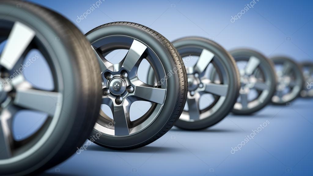 row of car wheels