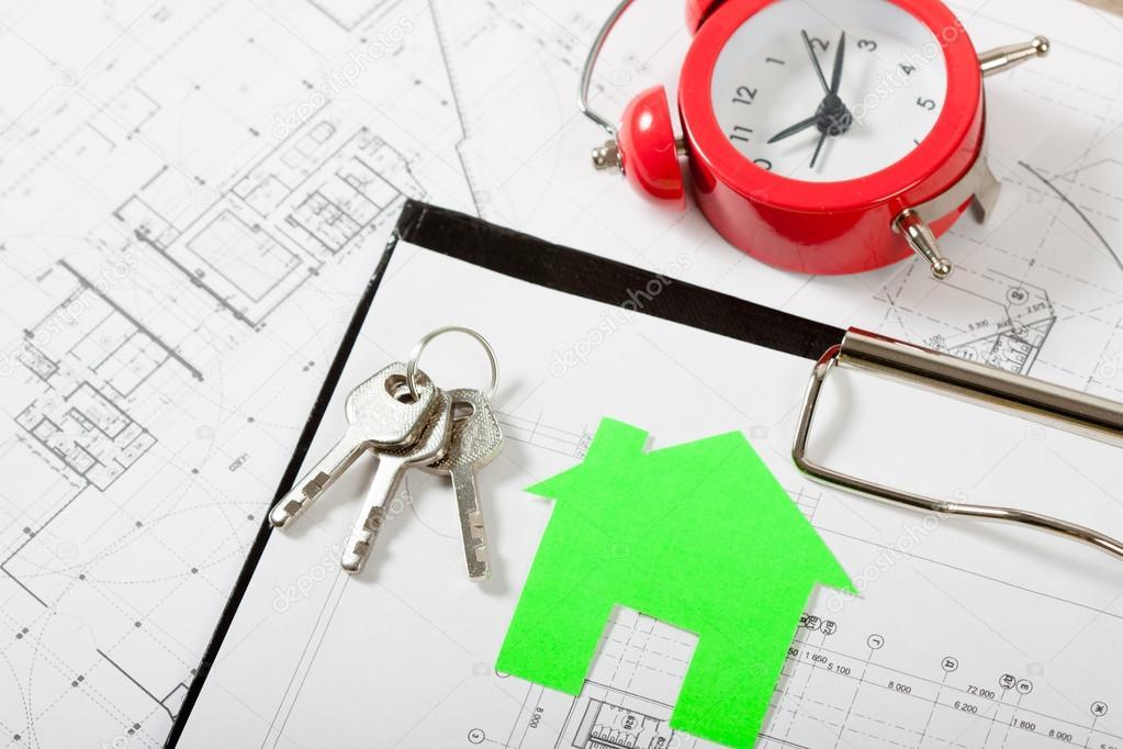 Musterhaus am Bauplan für Hausbau — Stockfoto © Alex_Ishchenko #98889714