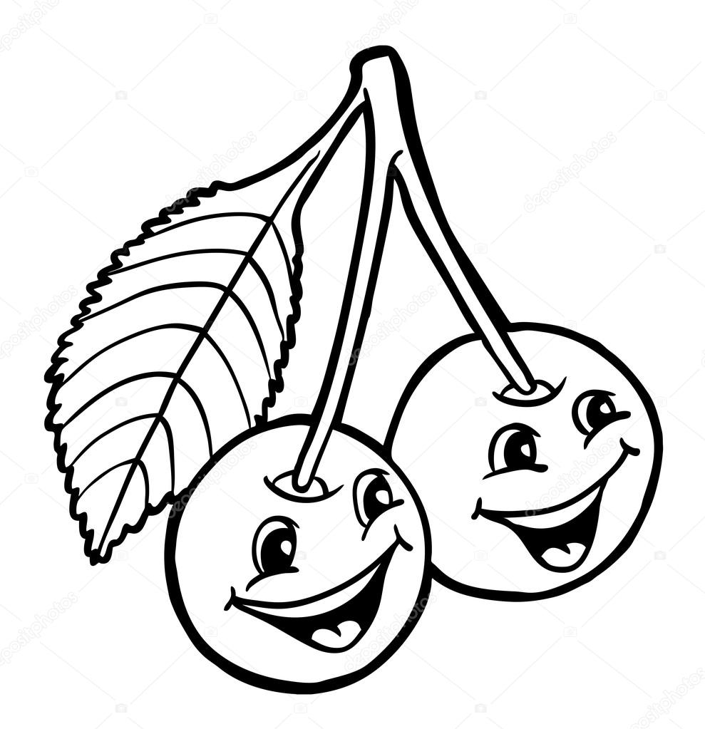 Ciliegie con sorriso vettoriali stock synchr 91241970 for Disegni da colorare ciliegie