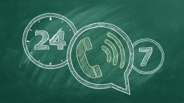 24-hour hotline. Animated illustration.