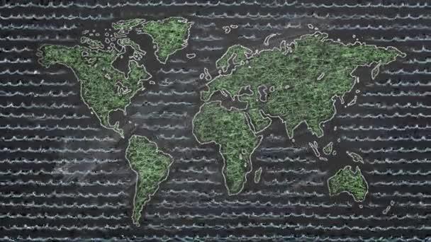 Světová mapa křídy na tabuli