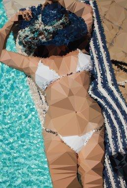 Woman Sunbathing Abstract Art