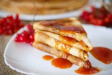pancakes with jam viburnum