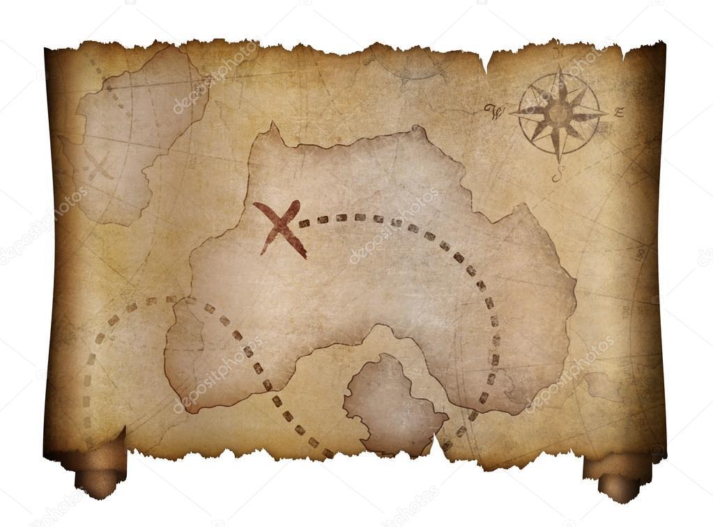Old Pirates Treasure Map Scroll Stock Photo