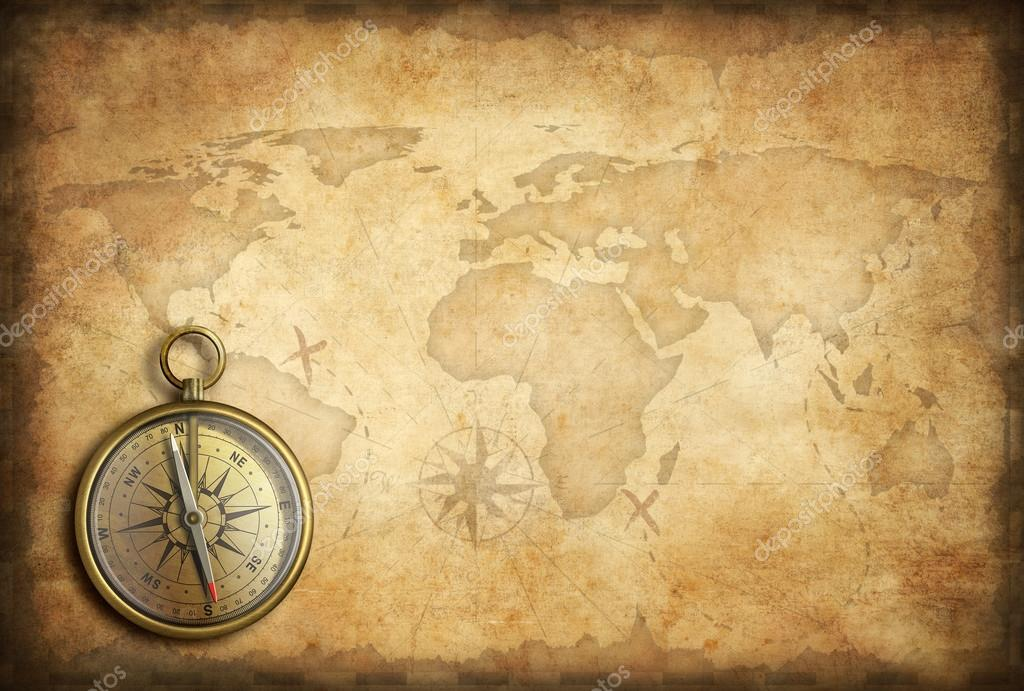 Old brass or golden compass with world map background stock photo old brass or golden compass with world map background stock photo gumiabroncs Gallery