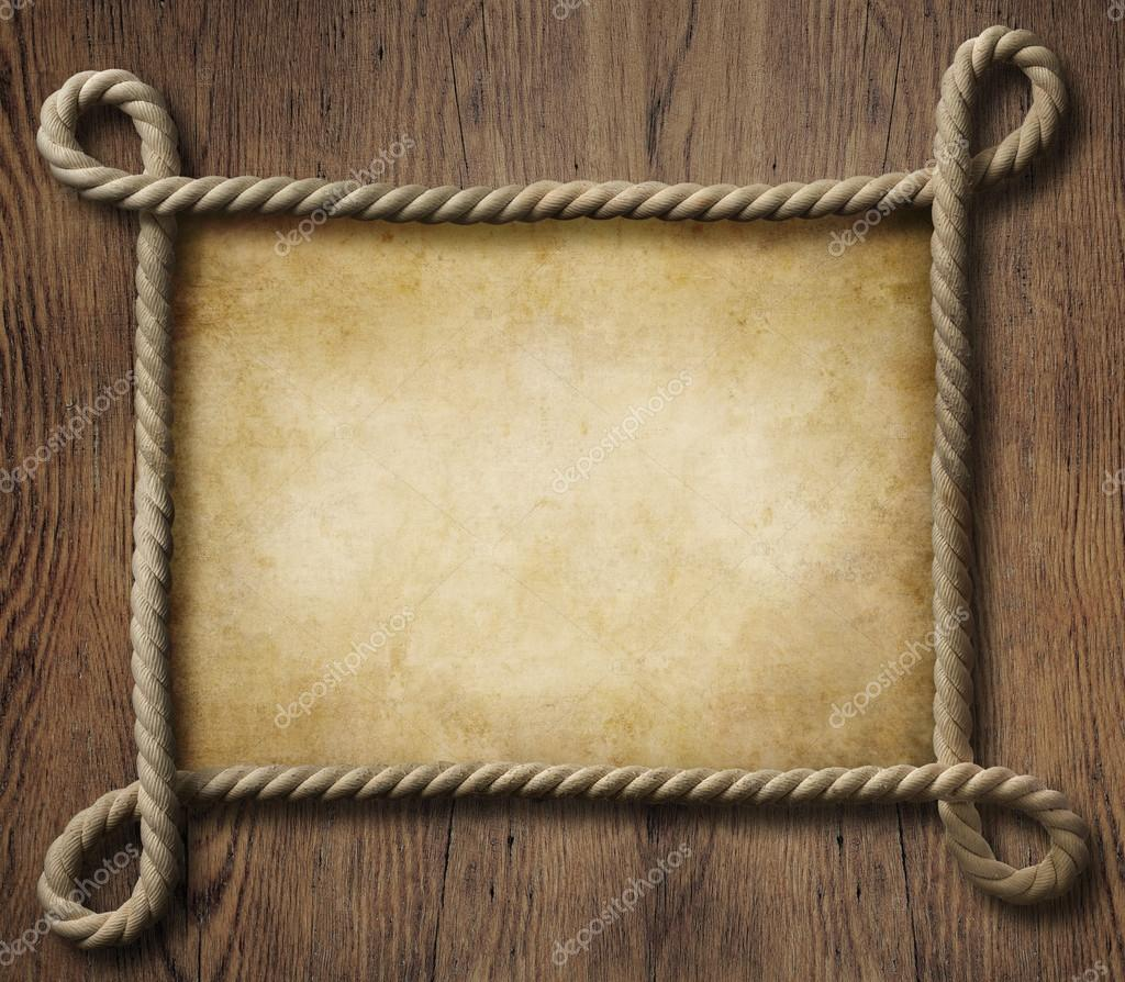 Pirate theme nautical rope frame with old paper background Rope photo frame