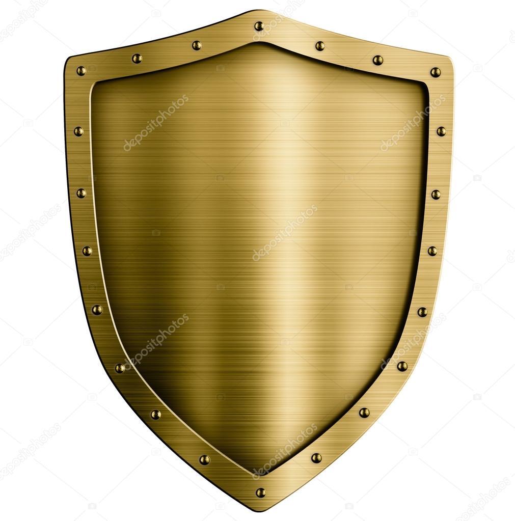 ouro ou bronze metal escudo medieval isolado no branco fotografias