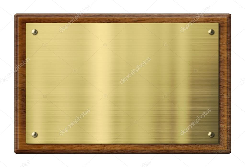 wood plaque with brass or gold metal plate clipping path included stock photo andrey. Black Bedroom Furniture Sets. Home Design Ideas