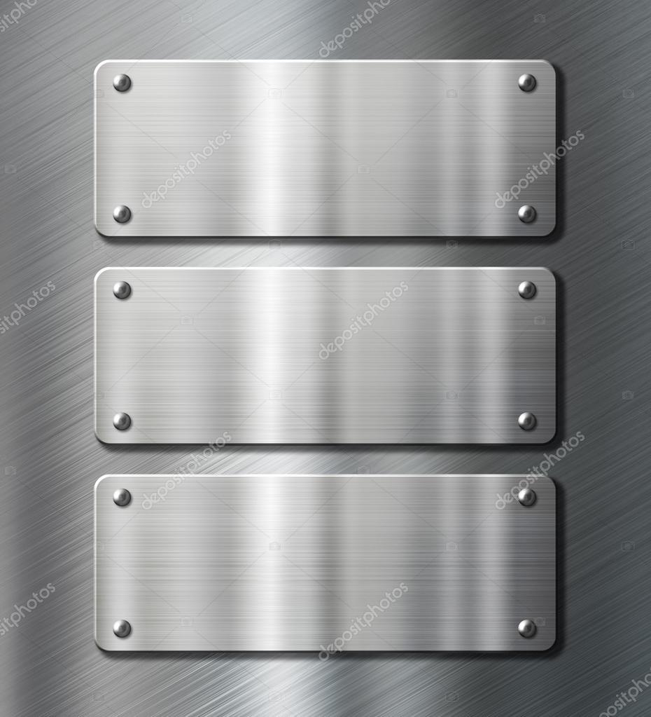 Tres placas met licas de acero inoxidable cepillado fondo - Placa de acero inoxidable ...