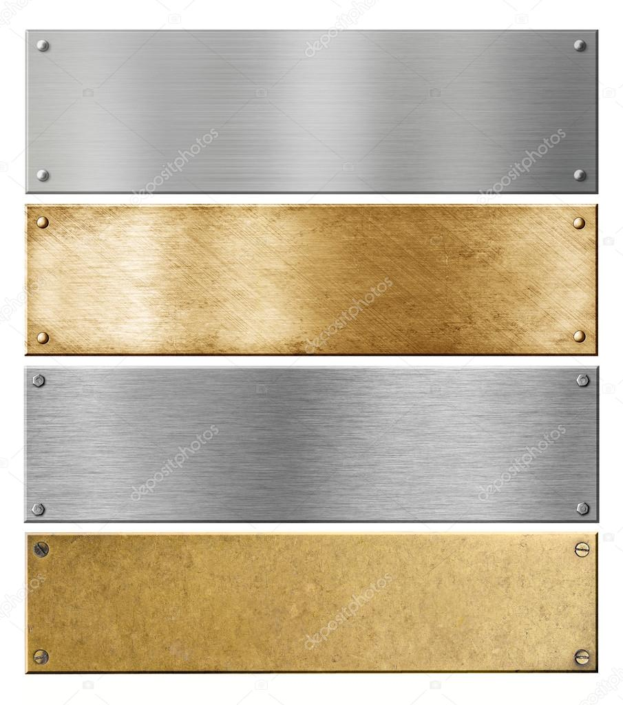 silver and brass metal plates or plaques with rivets set — Stock ...