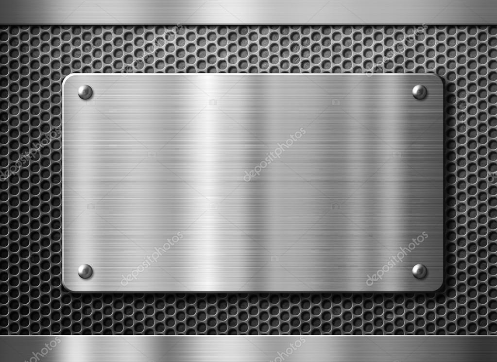Stainless steel metal plate or nameboard background - Placa de acero inoxidable ...
