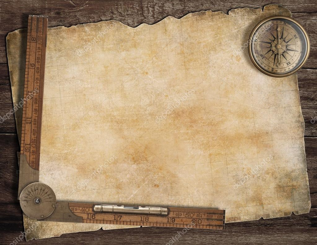Blank Treasure Map Compass on Blank Ruler Template