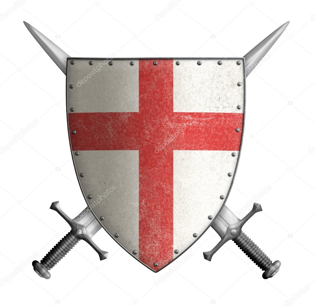 medieval crusader knight shield with cross red and two ...
