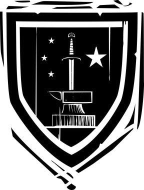 Heraldic Shield Sword and Anvil