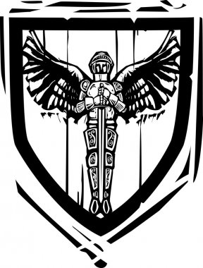 Heraldic Shield Winged Knight