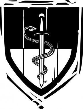 Heraldic Shield Snake and Sword