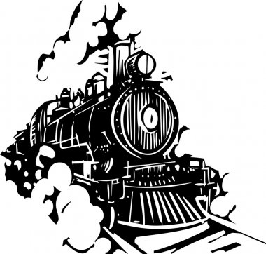 Woodcut Locomotive