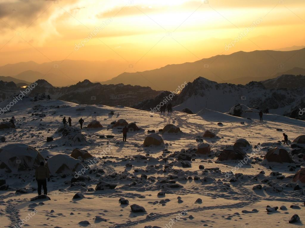 Beautiful sunset in the Andes