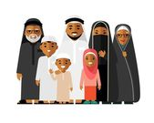 Photo Social concept - happy muslim arabic family isolated on white background in flat style