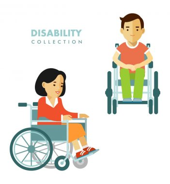 Disability person concept. Disability people set.