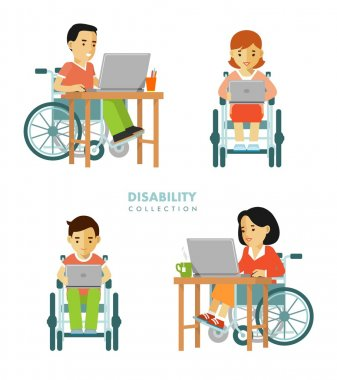 Disability worker people set