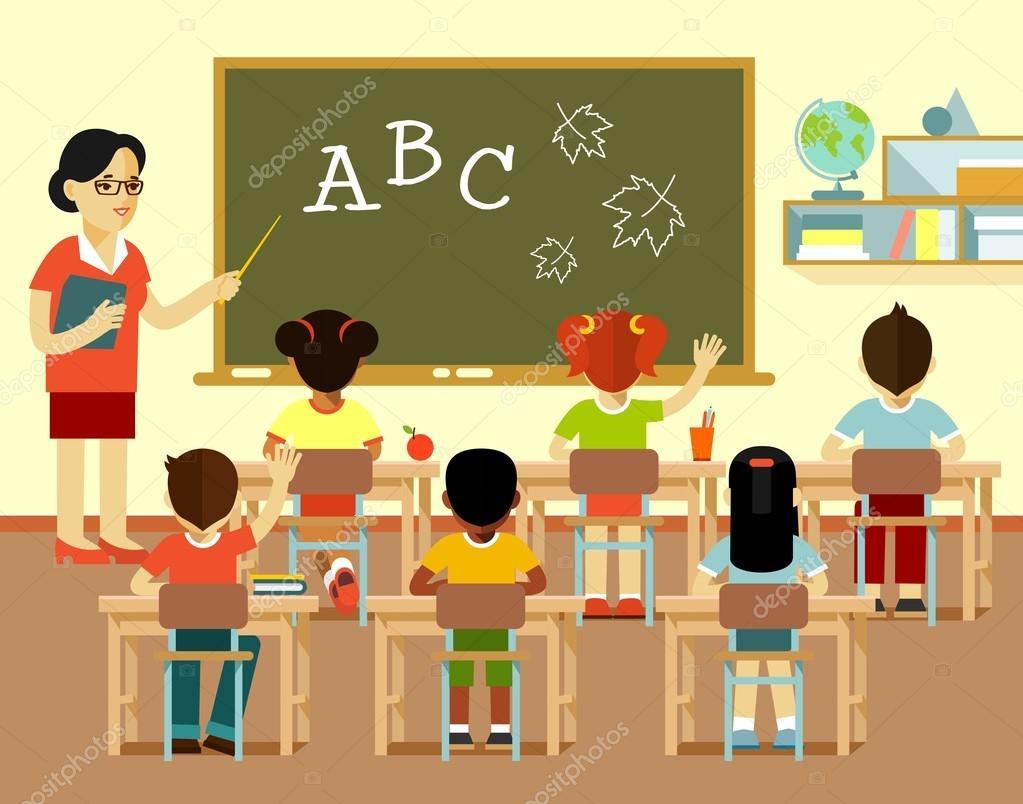 Diferentes Niños De La Escuela Y Profesor En La Lección
