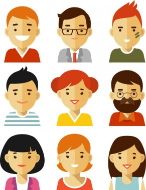 People avatars in flat style