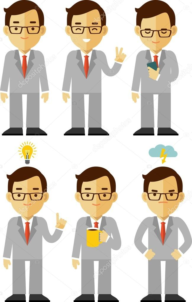 Businessman character set in different poses