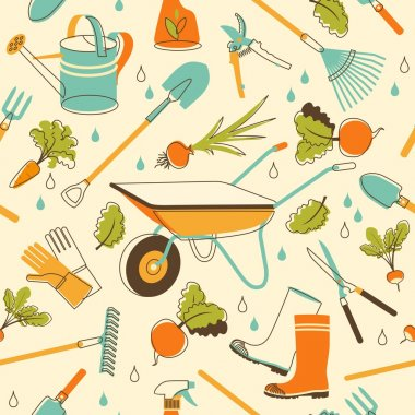 Garden tools seamless background in doodle style