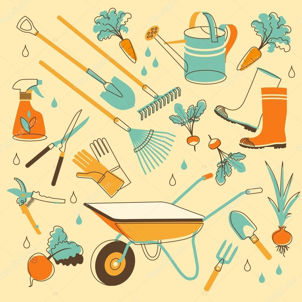 Garden tools in doodle style