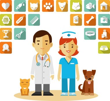 Veterinary doctor and icons set