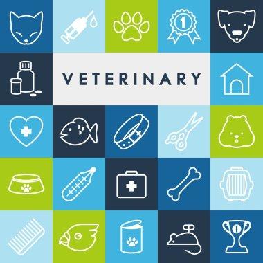 Veterinary icons set