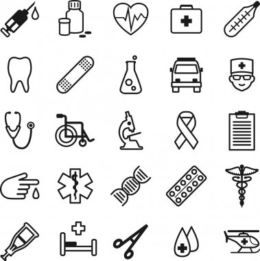 Set of medical icons in thin line style