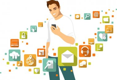 Mobile application concept - man with smartphone and social, media, web icons