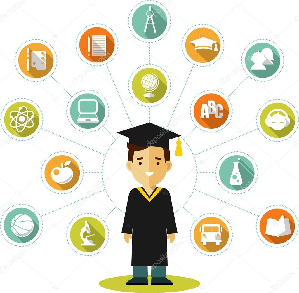 6933c1b47 Ilustración de vector de estilo plano de los iconos de estudiante y la  educación de jóvenes graduados — Vector de ...