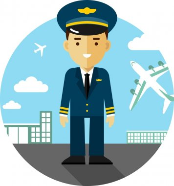 Pilot in uniform on airport background with airplanes in flat style stock vector