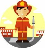 Feuerwehrmann mit Feuerwehrschlauch in flache