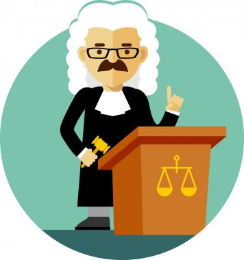 Judge with gavel in flat style