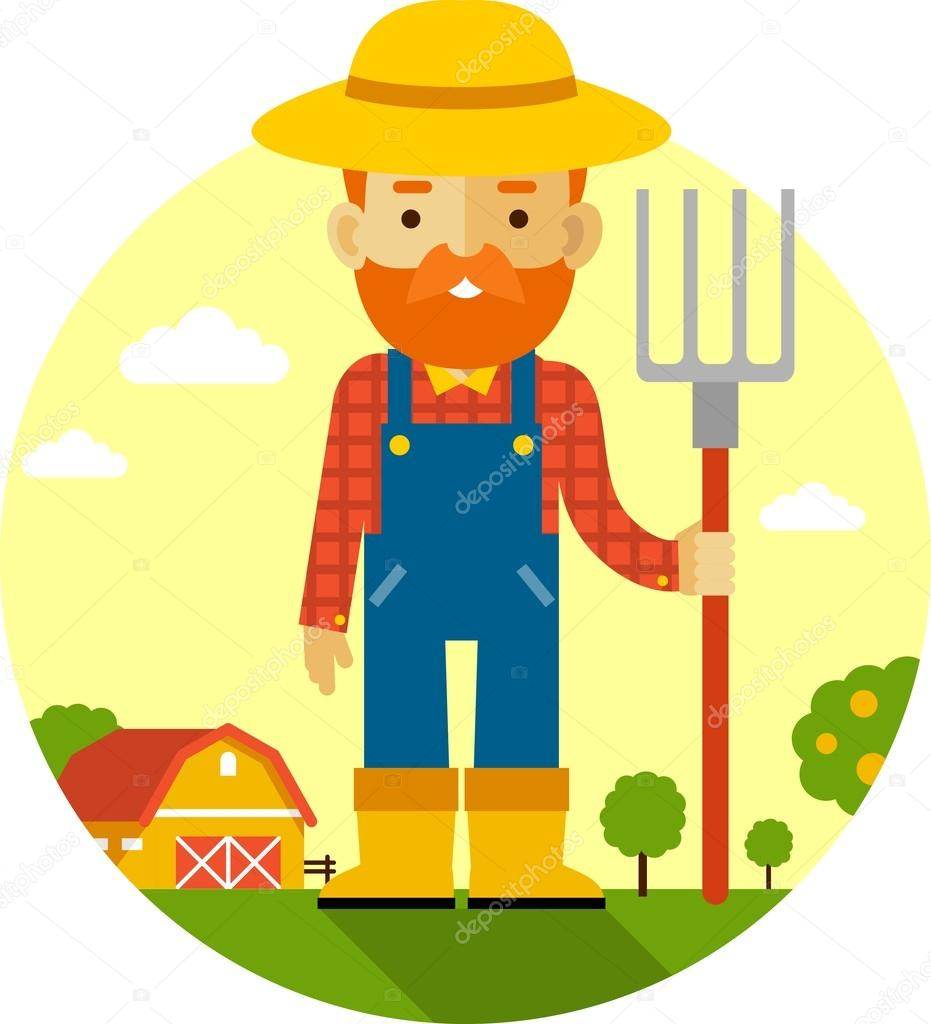 Farmer on farm background in flat style