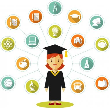 Graduates concept with young woman and education icons