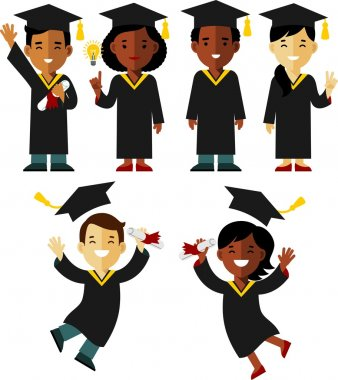 Different ethnic graduates character set in flat style