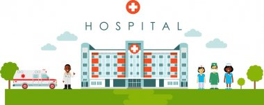 Medical concept with hospital building and african american doctor in flat style