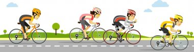 Young racing cyclists on bikes in flat style