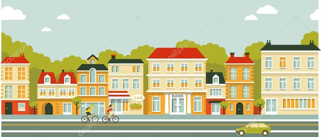 City Panorama Street Background In Flat Style Stock