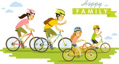 Happy family riding bikes isolated on white background in flat style