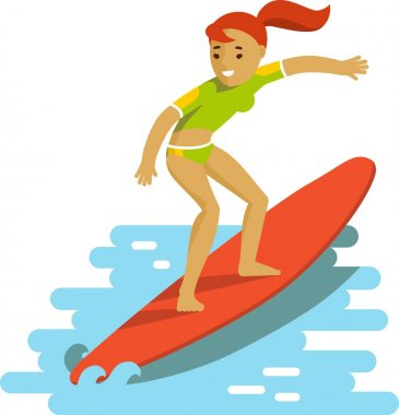 Young surfer girl on surfboard riding the wave