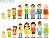 Generace lidí různého věku v plochý
