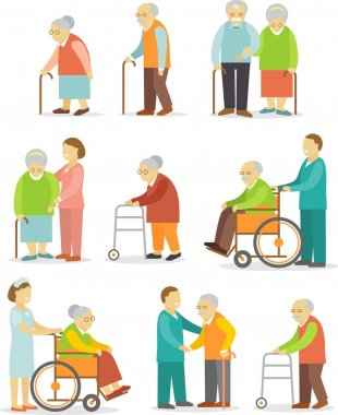 Set of older people in flat style